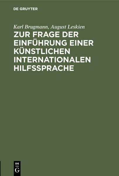 Zur Frage der Einführung einer künstlichen internationalen Hilfssprache - Coverbild