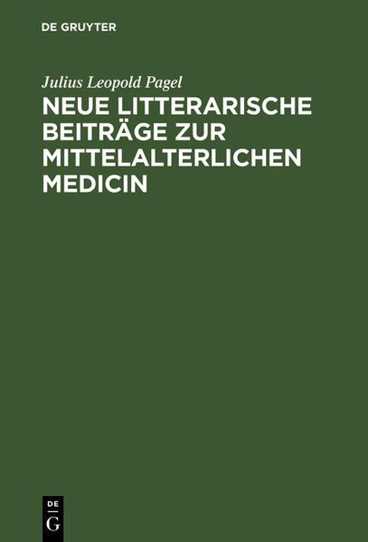 Neue litterarische Beiträge zur mittelalterlichen Medicin - Coverbild