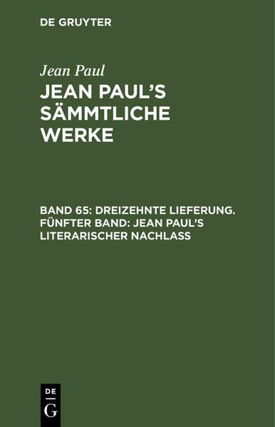 Jean Paul's literarischer Nachlaß ; Bd. 5 - Coverbild