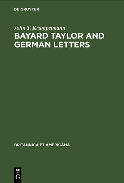 Bayard Taylor and German letters - Coverbild