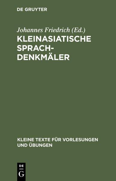 Kleinasiatische Sprachdenkmäler - Coverbild