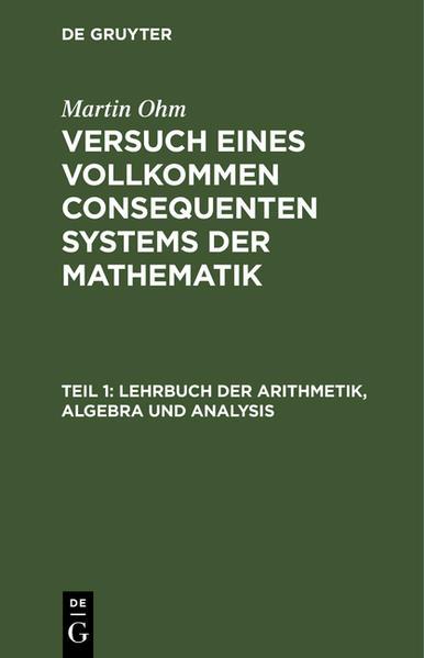 Lehrbuch der Arithmetik, Algebra und Analysis - Coverbild