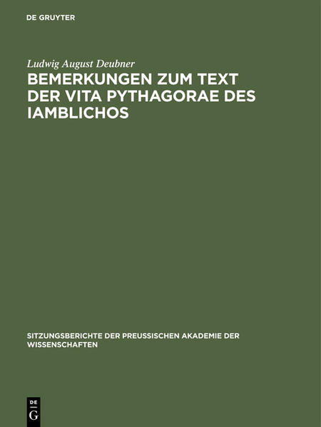 Bemerkungen zum Text der Vita Pythagorae des Iamblichos - Coverbild