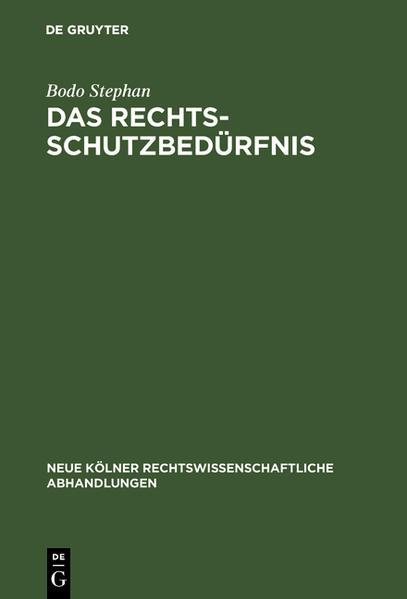 Das Rechtsschutzbedürfnis - Coverbild