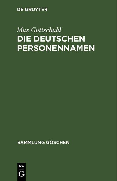 Die deutschen Personennamen - Coverbild