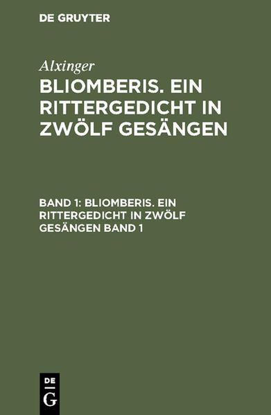 Bliomberis : ein Rittergedicht in zwölf Gesängen - Coverbild