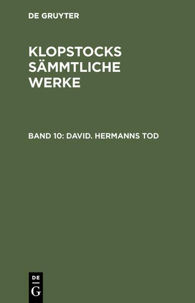 Klopstocks sämmtliche Werke / David. Hermanns Tod - Coverbild