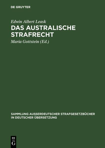 Das australische Strafrecht - Coverbild