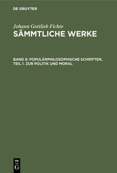 [Sämmtliche Werke] Johann Gottlieb Fichtes Sämmtliche Werke - Coverbild