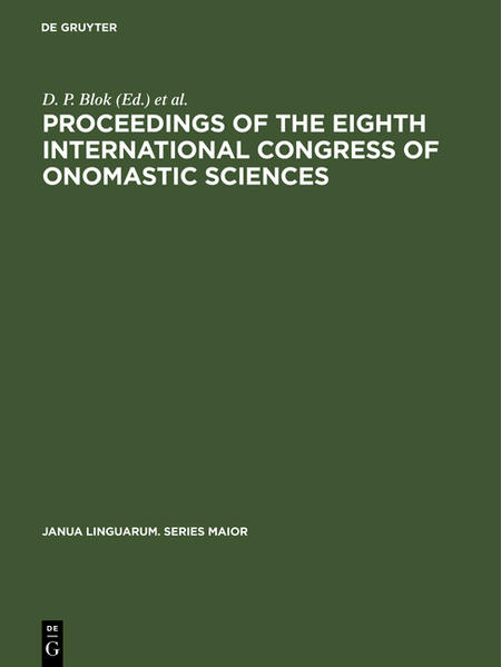 Proceedings of the Eighth International Congress of Onomastic Sciences - Coverbild