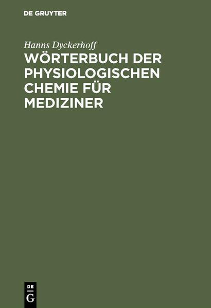 Wörterbuch der physiologischen Chemie - Coverbild