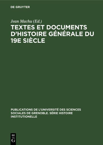 Textes et documents d'histoire générale du 19e siècle - Coverbild
