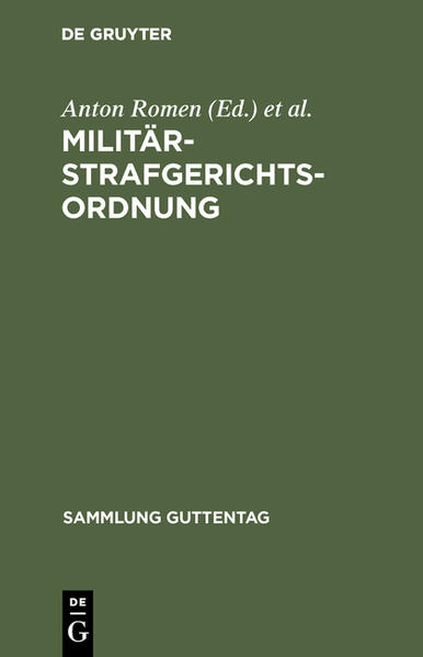 Militärstrafgerichtsordnung - Coverbild