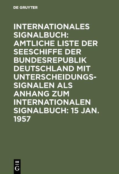 Amtliche Liste der Seeschiffe mit Unterscheidungssignalen der Bundesrepublik Deutschland - Coverbild