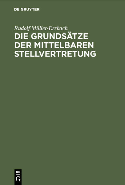Die Grundsätze der mittelbaren Stellvertretung - Coverbild