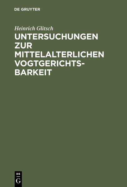 Untersuchungen zur mittelalterlichen Vogtgerichtsbarkeit - Coverbild
