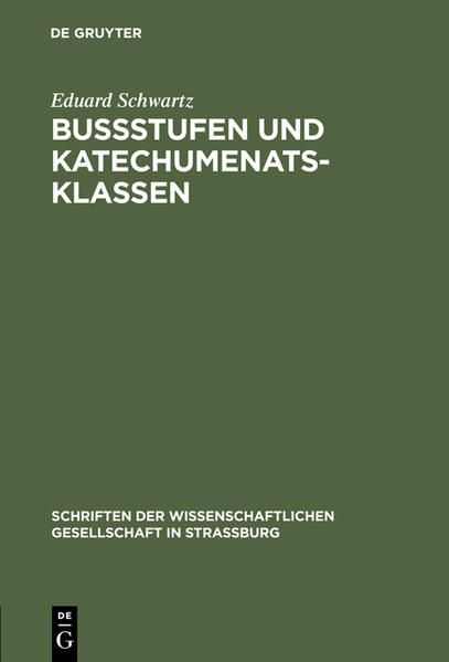 Bußstufen und Katechumenatsklassen - Coverbild