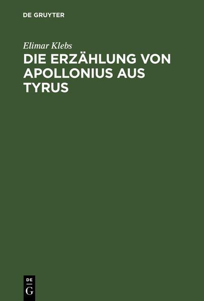 Die Erzählung von Apollonius aus Tyrus - Coverbild