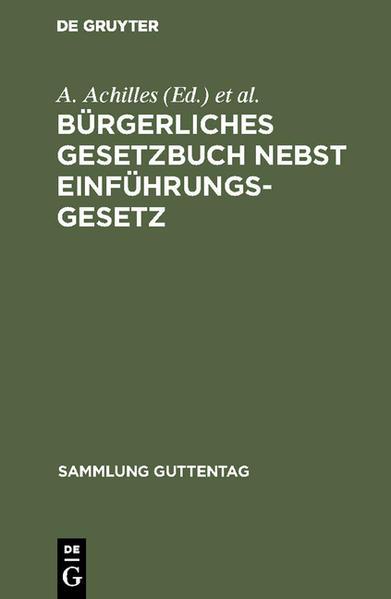 Bürgerliches Gesetzbuch - Coverbild