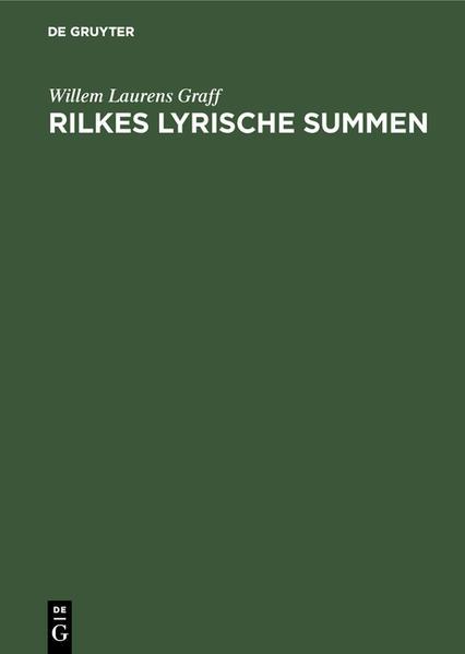 Rilkes lyrische Summen - Coverbild