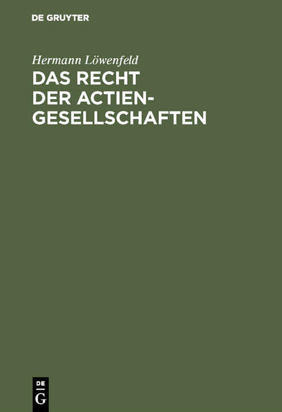 Das Recht der Actien-Gesellschaften - Coverbild