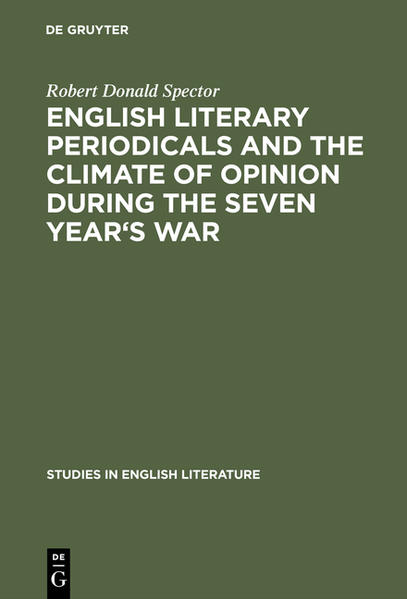 English literary periodicals and the climate of opinion during the Seven Year's War - Coverbild