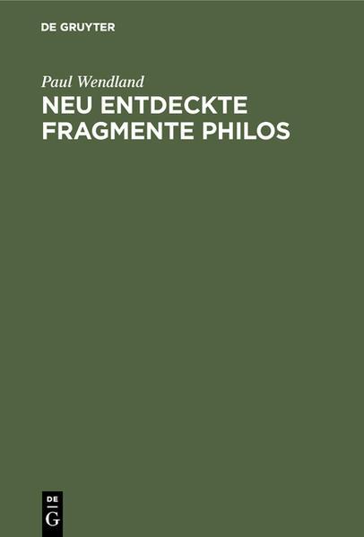 Neu entdeckte Fragmente Philos - Coverbild