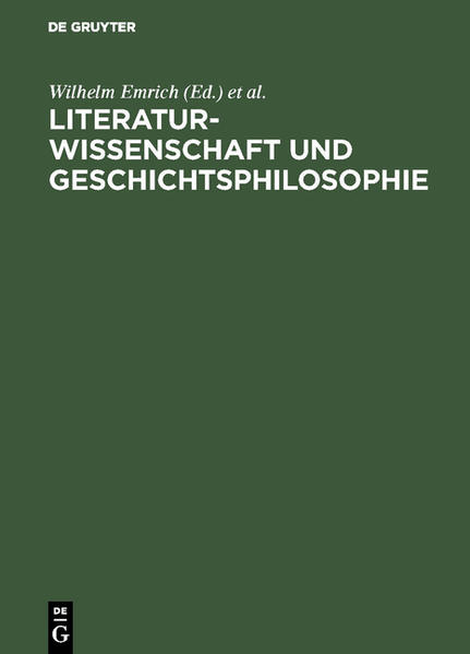 Literaturwissenschaft und Geschichtsphilosophie - Coverbild