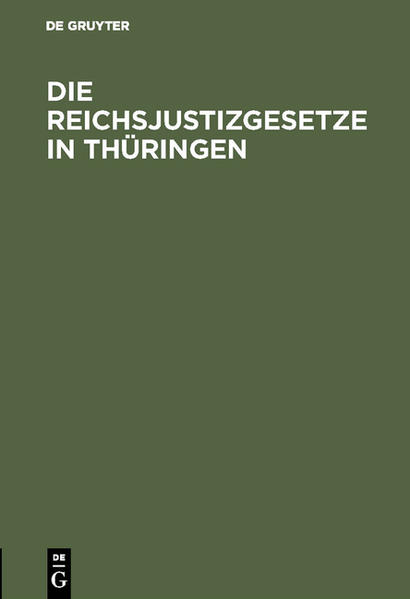 Die Reichsjustizgesetze in Thüringen - Coverbild