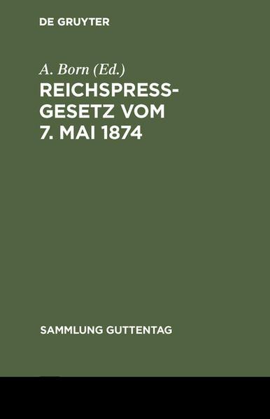 Reichspreßgesetz - Coverbild