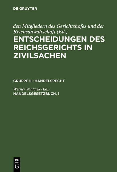 Entscheidungen des Reichsgerichts in Zivilsachen / Handelsgesetzbuch - Coverbild