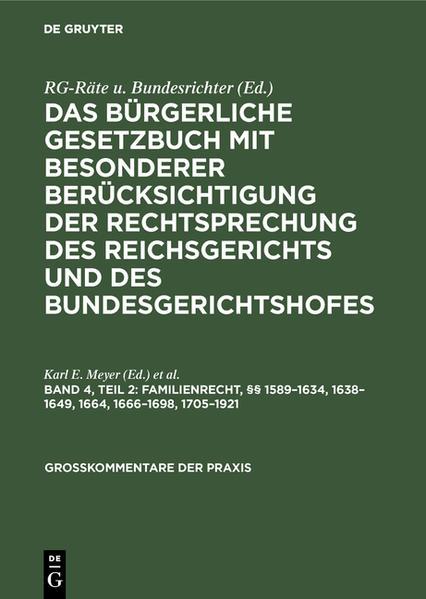 §§ 1589 - 1634, 1638 - 1649, 1664, 1666 - 1698, 1705 - 1921 - Coverbild