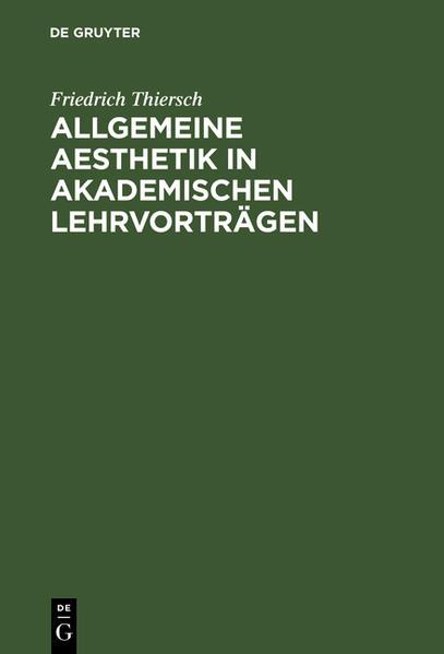Allgemeine Aesthetik in akademischen Lehrvorträgen - Coverbild