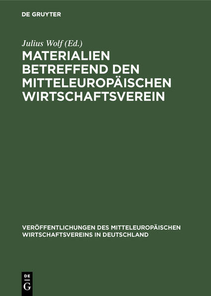 Materialien betreffend den mitteleuropäischen Wirtschaftsverein - Coverbild