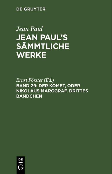 Der Komet, oder Nikolaus Marggraf, Bdch. 3. Briefe an Friedrich Heinrich Jakobi - Coverbild
