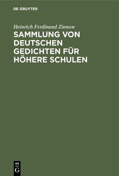 Sammlung von deutschen Gedichten für höhere Schulen - Coverbild