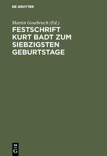 Festschrift Kurt Badt zum siebzigsten Geburtstage - Coverbild