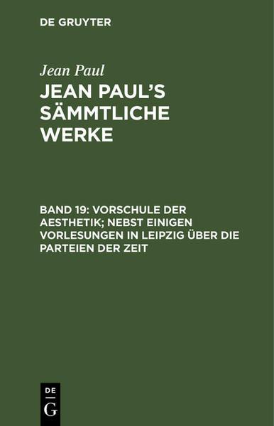 Vorschule der Aesthetik ; Abtheilung 3. Kleine Bücherschau - Coverbild