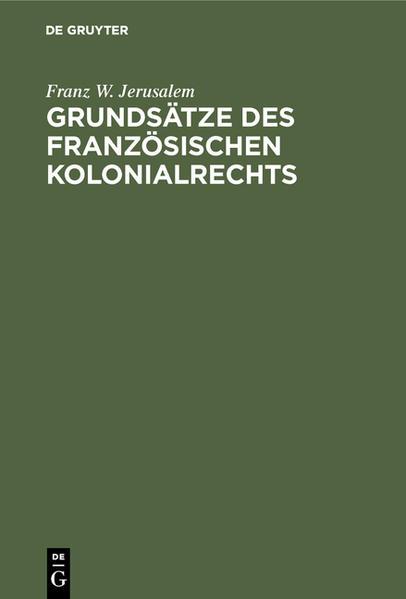 Grundsätze des französischen Kolonialrechts - Coverbild