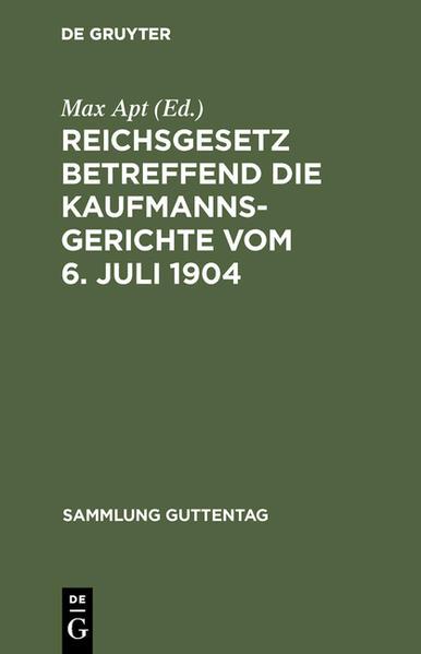 Reichsgesetz betreffend die Kaufmannsgerichte - Coverbild
