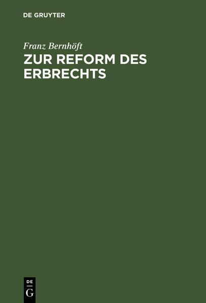 Zur Reform des Erbrechts - Coverbild