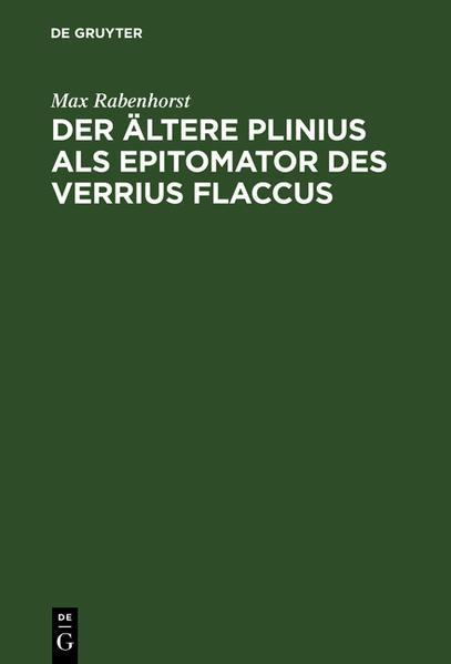 Der ältere Plinius als Epitomator des Verrius Flaccus - Coverbild