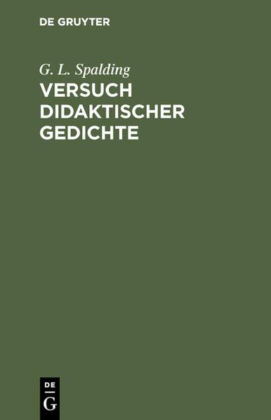 Versuch didaktischer Gedichte - Coverbild