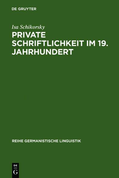 Private Schriftlichkeit im 19. Jahrhundert - Coverbild