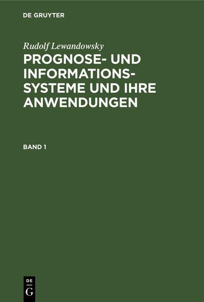 Prognose- und Informationssysteme und ihre Anwendungen - Coverbild