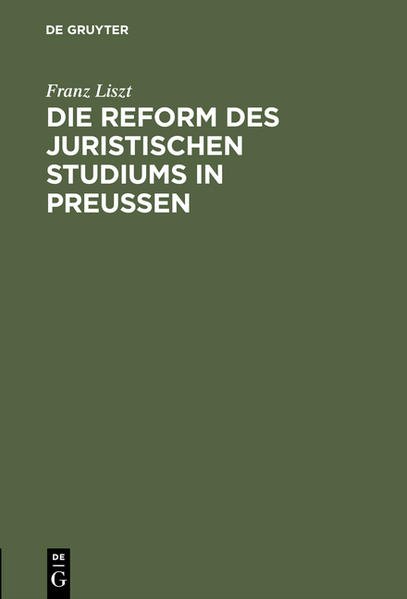 Die Reform des juristischen Studiums in Preussen - Coverbild