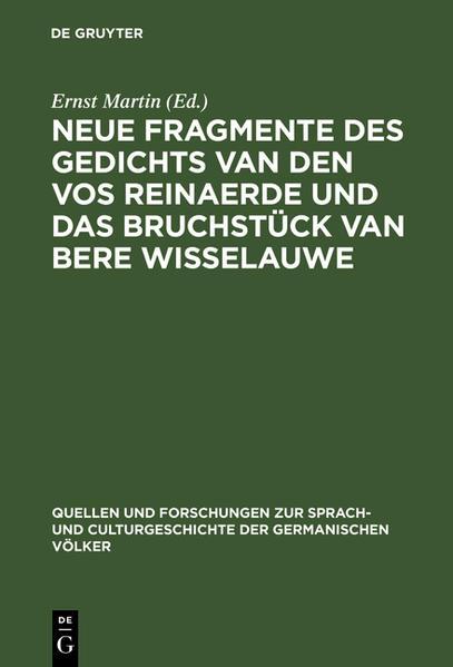 Neue Fragmente des Gedichts Van den Vos Reinaerde und das Bruchstück Van Bere Wisselauwe - Coverbild