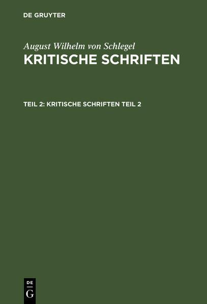 Kritische Schriften. Zweiter Theil - Coverbild