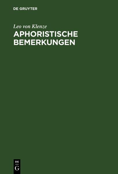 Aphoristische Bemerkungen - Coverbild