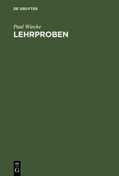 Lehrproben - Coverbild